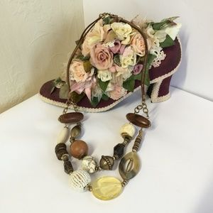 Chico's Vintage Style Stone & Wood Necklace